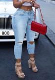 Calça jeans colorida de verão com cintura alta e renda azul