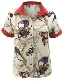 Летняя стильная блузка с короткими рукавами в стиле ретро с принтом