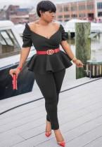 Sommer formale schwarze trägerlose Schößchen Top und Hosen Anzug