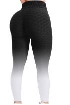 Zomer zwarte gradiënt hoge taille wafel sexy ingerichte yoga legging