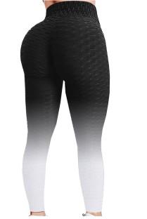 Leggings de ioga para ioga com gradiente de cintura alta preta gradiente de verão