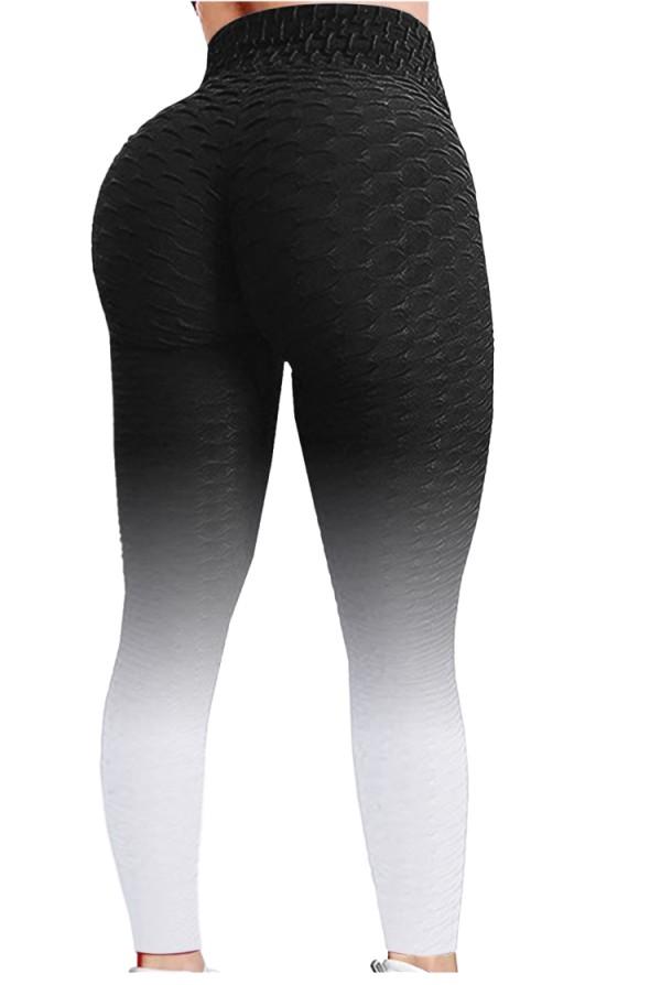 Leggings yoga aderenti sexy a vita alta con sfumature nere estive