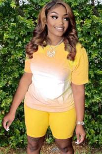 Летний повседневный желтый комплект из двух одинаковых рубашек с градиентом и байкерских шорт