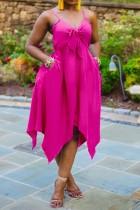 Vestido irregular con tirantes anudados rosa de talla grande de verano