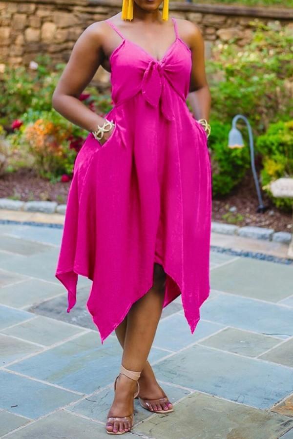 サマープラスサイズピンクノットストラップイレギュラードレス