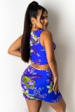 Summer Two Piece Matching Floral Blue Sexy Lace-Up Crop Top and Skirt Set