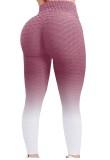 Leggings yoga aderenti sexy a vita alta con cialda rosa estiva