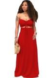 Ensemble deux pièces d'été assorti haut bandeau rouge et jupe longue