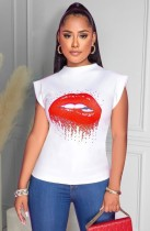 Sommer Print Weißes O-Neck Regular Shirt