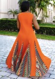 Abito lungo africano con patch O-Collo senza maniche arancione estivo