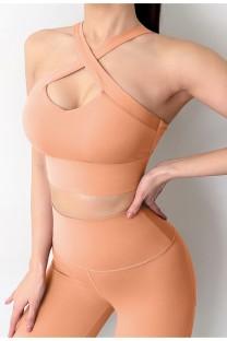 Ioga de verão 2 unidades combinando com sutiã halter sólido e leggings de cintura alta