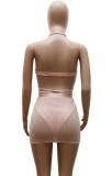 Set top corto con perline sexy abbinato a due pezzi rosa estivo e minigonna
