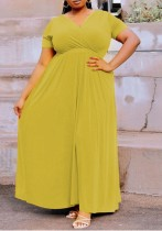Summer Plus Size Grünes Maxikleid mit V-Ausschnitt und langem Wickel