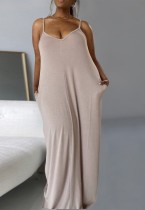 Sommer Casual Plus Size Solid Strap Langes Maxikleid