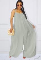Summer Plus Size Grauer Riemen Loose Jumpsuit