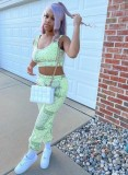 Conjunto de sutiã esportivo e calça de moletom estampado verão verde combinando
