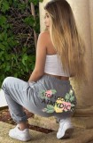 Pantaloni della tuta a vita alta grigi floreali estivi