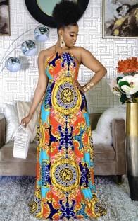 Летнее длинное платье макси с принтом в стиле ретро в африканском стиле на бретельках