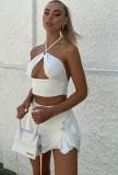 Set da 2 pezzi con top corto e minigonna sexy bianco estivo