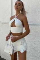 Summer White Sexy Halter Crop Top y Minifalda Conjunto de 2 piezas