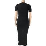 Vestido longo preto rasgado de verão plus size