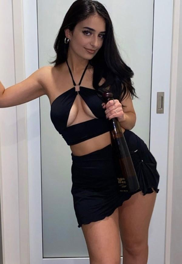 Set da 2 pezzi con top corto e minigonna sexy nero estivo