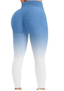 Leggings de ioga de verão azul gradiente de cintura alta waffle sexy