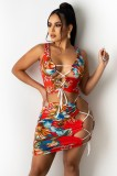Summer Two Piece Matching Floral Red Sexy Lace-Up Crop Top e Skirt Set