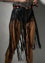Fiesta de verano sexy falda negra con flecos