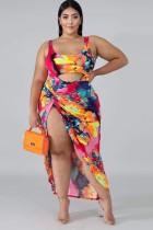 Sommer Plus Size Print Bodysuit und passendes Rock Set