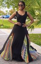Vestido largo africano sin mangas con cuello en O sin mangas de verano negro