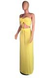 Ensemble deux pièces d'été assorti haut bandeau jaune et jupe longue