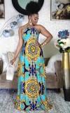 Maxi abito lungo con stampa africana retrò con stampa estiva