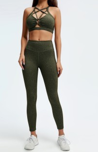 Summer Yoga 2pc Matching Solid Hollow Out Bra and High Waist Leggings