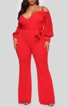 Tuta formale a maniche lunghe con cinturino rosso taglie forti primavera