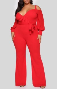 Spring Plus Size Roter Riemen Langarm Formeller Overall