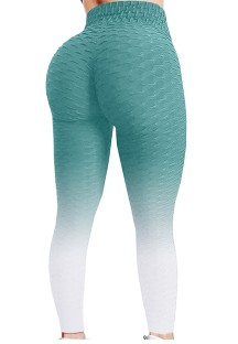 Летние зеленые градиентные вафельные сексуальные облегающие леггинсы для йоги с высокой талией