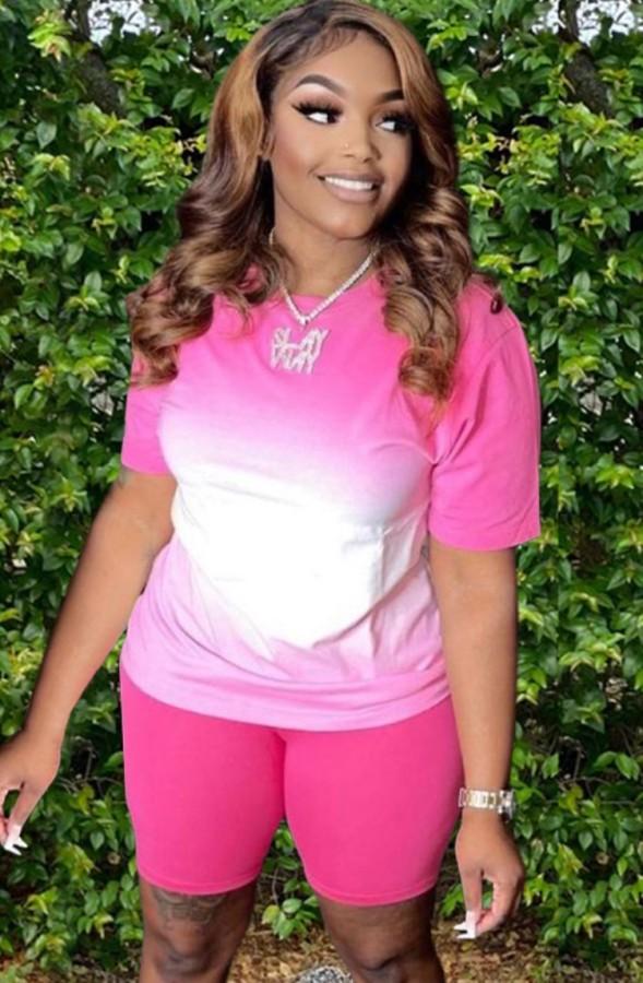 Summer Casual Pink Two Piece Matching Gradient Shirt and Biker Shorts Set