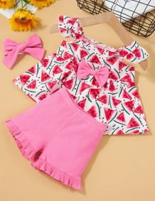Kids Girl Summer Print Shirt and Solid Shorts 3pc Set with Matching Headband