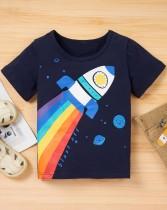 Kids Girl Sommer Print Shirt und Solid Shorts 2pc Set