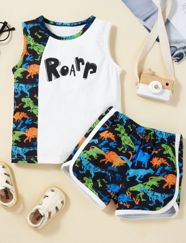 Kids Boy Summer Print Vest and Shorts 2pc Set