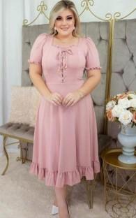 Yaz Büyük Beden Bağcıklı Fırfırlı Olgun Elbise