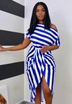 Sommerfest Sexy Slash Schulter Irrgular Stripes Kleid
