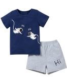 Set 2 pezzi di camicia e pantaloncini con stampa estiva per bambino