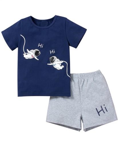 Kids Boy Summer Print Shirt and Shorts 2pc Set