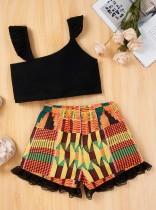 2-delige set met crop top en effen korte broek voor kinderen, meisje