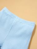 Camicia con stampa estiva per bambina e pantaloncini tinta unita 3 pezzi con fascia abbinata