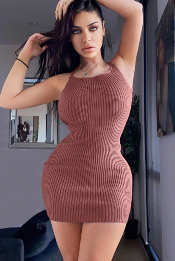 Mini vestido halter de punto sólido sexy de verano