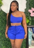 Summer Casual Matching 2pc Solid One Shoulder Crop Top e Shorts Set