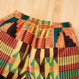 Set 2 pezzi Top corto con stampa estiva per bambina e pantaloncini tinta unita